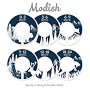 Modish Labels Baby Nursery Closet Dividers, Closet Organizers, Nursery Decor, Baby Boy, Woodland, Tribal, Woodland Animals, Bear, Fox, Deer, Navy, Blue, Navy Blue, White (Navy)