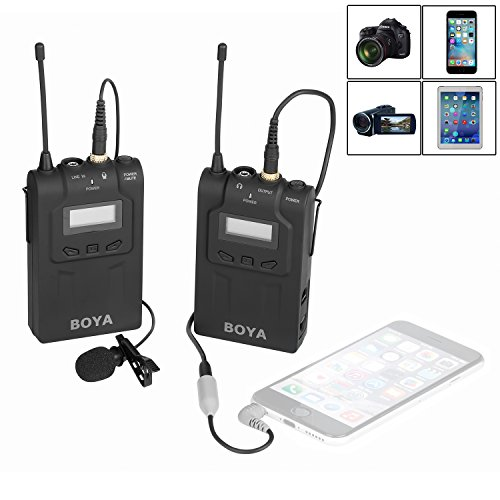 BOYA BY-UM48C UHF Omni-Directional Wireless Lavalier Microphone System for Canon EOS T6i C200 Nikon D3300 Sony A9 Camera iPhone 8 8 plus 7 7 plus 6 6s (Camera Uhf Wireless System)