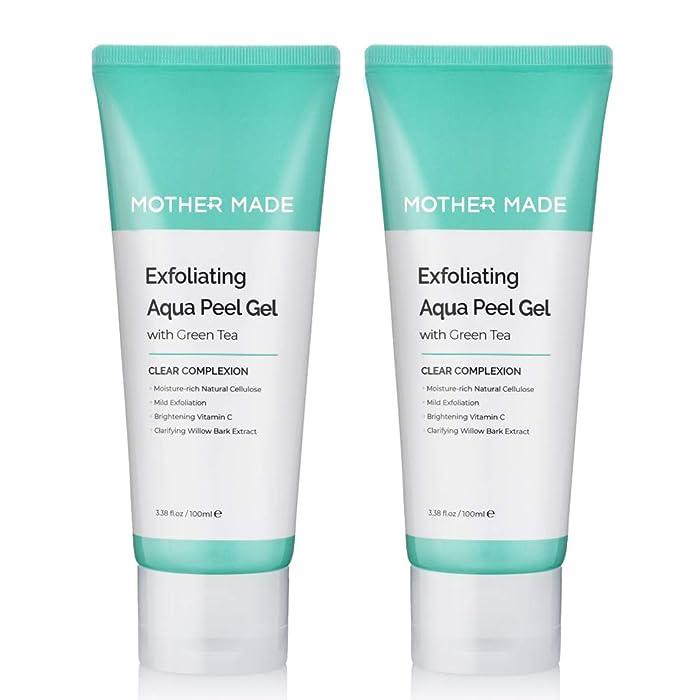 MOTHER MADE Exfoliating Aqua Peeling Gel Face Scrub with Cotton Cellulose, Green Tea, Vitamin C, Papaya Enzyme, Pack of 2 - Facial Exfoliator for Men & Women, Sensitive Dry Skin, Vegan & Paraben-free