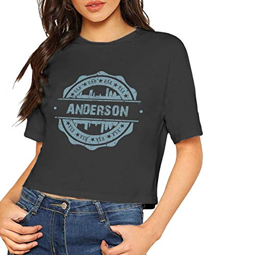 X-JUSEN Women's Anderson Indiana Short Sleeve Midriff Baring Cotton T Shirts Blouse Tee, Basic Crop Tops
