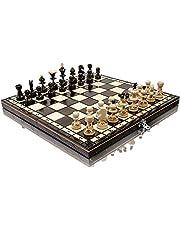 Häpnadsväckande PEARL 35cm / 13,8in populär europeisk träschackuppsättning! Handgjorda bitar och schackbräde av Master Of Chess
