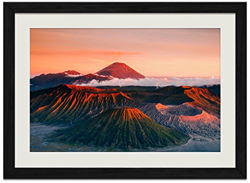 Bromo Volcano Indonesia - Art Print Wall Black Wood Grain Framed Picture(16x12inches) by F.Mints