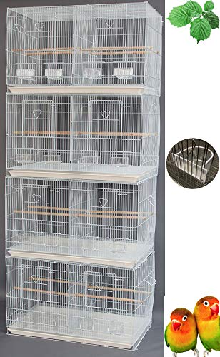 "Mcage Lot of Breeding Bird Flight Cages for Canary Parakeet Aviaries Budgies Lovebird Finch (Large 30"" White Divider)"