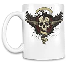Funny Coffee Mugs Skull with guns Unique Coffee Mug 11Oz