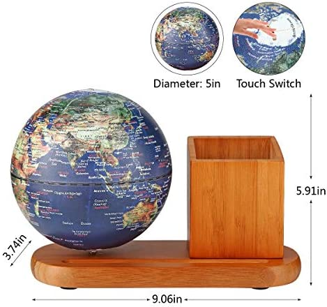 FUN GLOBE 3 in 1 Illuminated World Globe Desktop Decoration Geographic Interactive Earth Globes Office Supplies Holiday Gift with Adjustable LED Light Music s for for Kids Adult Navy-1