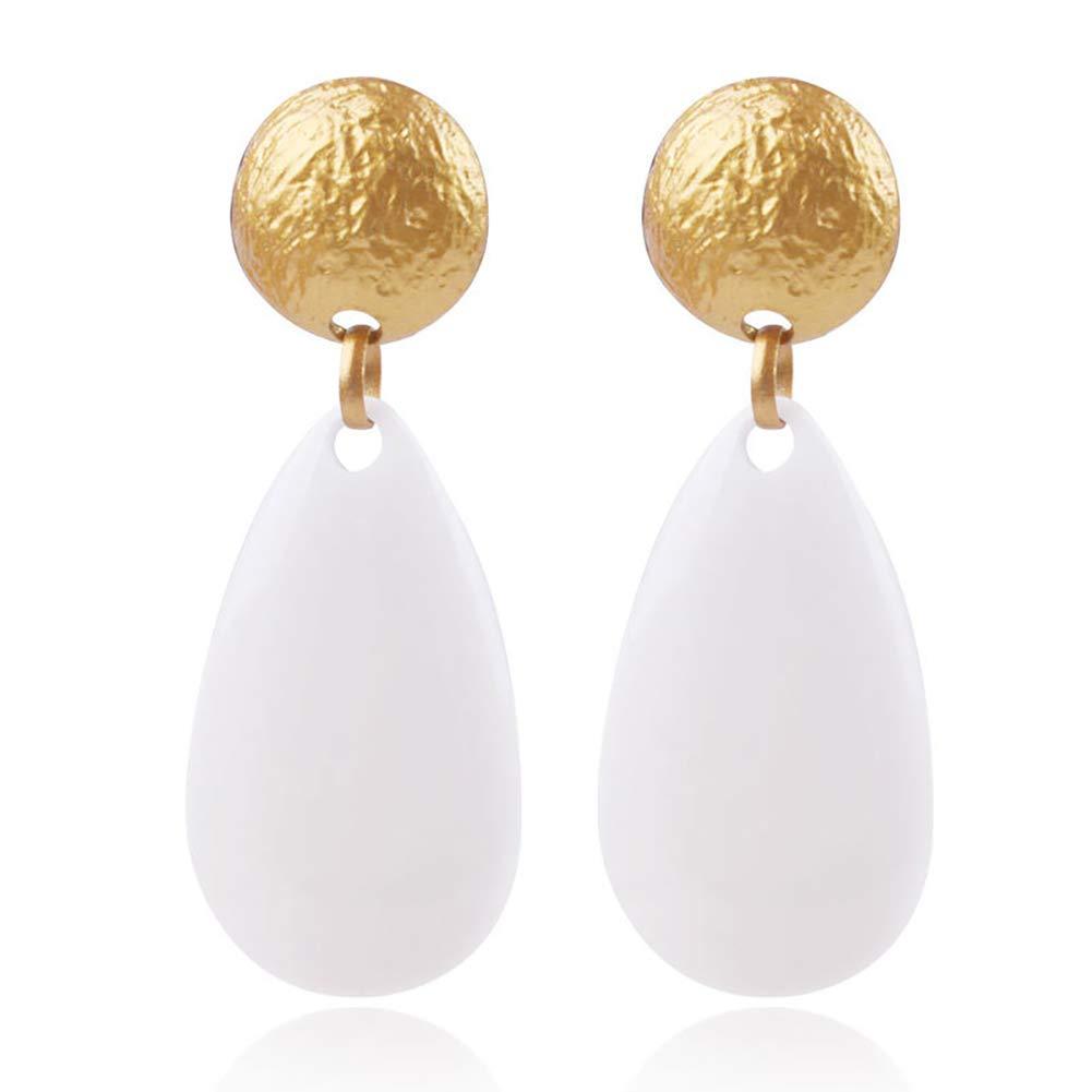 lightclub Fashion Women Big Earrings Oval Waterdrop Long Dangle Earrings Dangling Earrings Drop Earrings Pendant Resin Stud Earring Jewelry Decor White