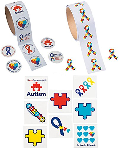 Charmed By Dragons Autism Awareness Stickers and Tattoos Bundle: 200 Stickers and 72 Tattoos ( 272 Piece Bundle) -
