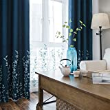 Melodieux Flower Embroidery Faux Linen Window Blackout Noise-Free Grommet Top Curtains for Living Room 52 by 84 Inch Navy/Blue 1 Panel