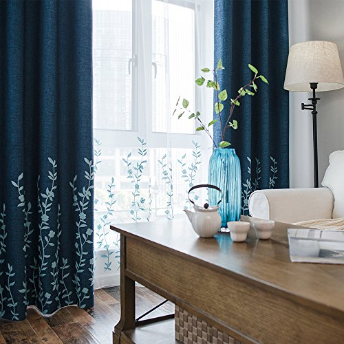 Melodieux Flower Embroidery Faux Linen Window Blackout Noise-Free Grommet Top Curtains for Living Room 52 by 84 Inch Navy/Blue 1 (Embroidery Linen Flowers)
