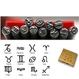 KENT Metal Punch Stamps, Size 5.0mm, 12 pcs Set Zodiac Symbol
