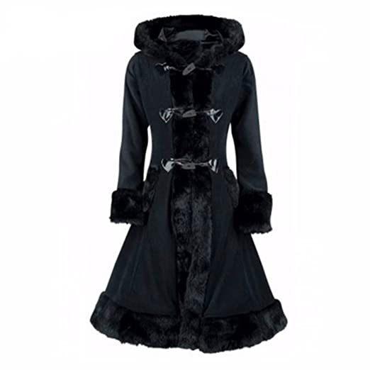 Vintage Coats & Jackets | Retro Coats and Jackets EryRon Elegant Women Black Hooded Sweet Gothic Lolita Style Warm Winter Wool Coat $49.99 AT vintagedancer.com
