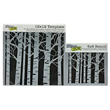 "The Crafter's Workshop Set of 2 Stencils - Aspen Trees 12"" x 12"" Mini 6"" x 6"" - Includes 1 each TCW252 and TCW252s - Bundle 2 Items"