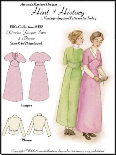 Edwardian Sewing Patterns- Dresses, Skirts, Blouses, Costumes 1910s Kimoni Jumper Dress and Blouse Pattern $14.95 AT vintagedancer.com