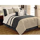 8 PC Grey, Beige and White Striped Micro Suede Comforter Set, Queen Comforter Set