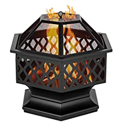 """Introductions:This 24"""" hexagonal shaped iron brazier is a best choice for you. Its distressed bronze shape, lattice detailing is a perfect decoration to decorate your yard. You can put it by the poolside or backyard. Its deep and wide pit can..."""