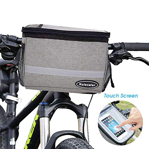 Review ROLSCALER Bicycle Handlebar Bag with Reflective Stripe for Mountain Bike Cycling Basket Stora...
