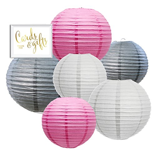 Andaz Press Hanging Paper Lantern Party Decor Trio Kit with Free Party Sign, White, Pink, Gray 6-Pack, For Elephant Baby Shower Decorations ()