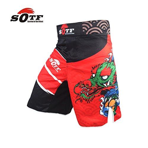 SOTF Red Dragon Edition Sports Training Breathable Cotton Boxer Shorts MMA Thai Boxing Kickboxing Shorts Muay Thai Shorts