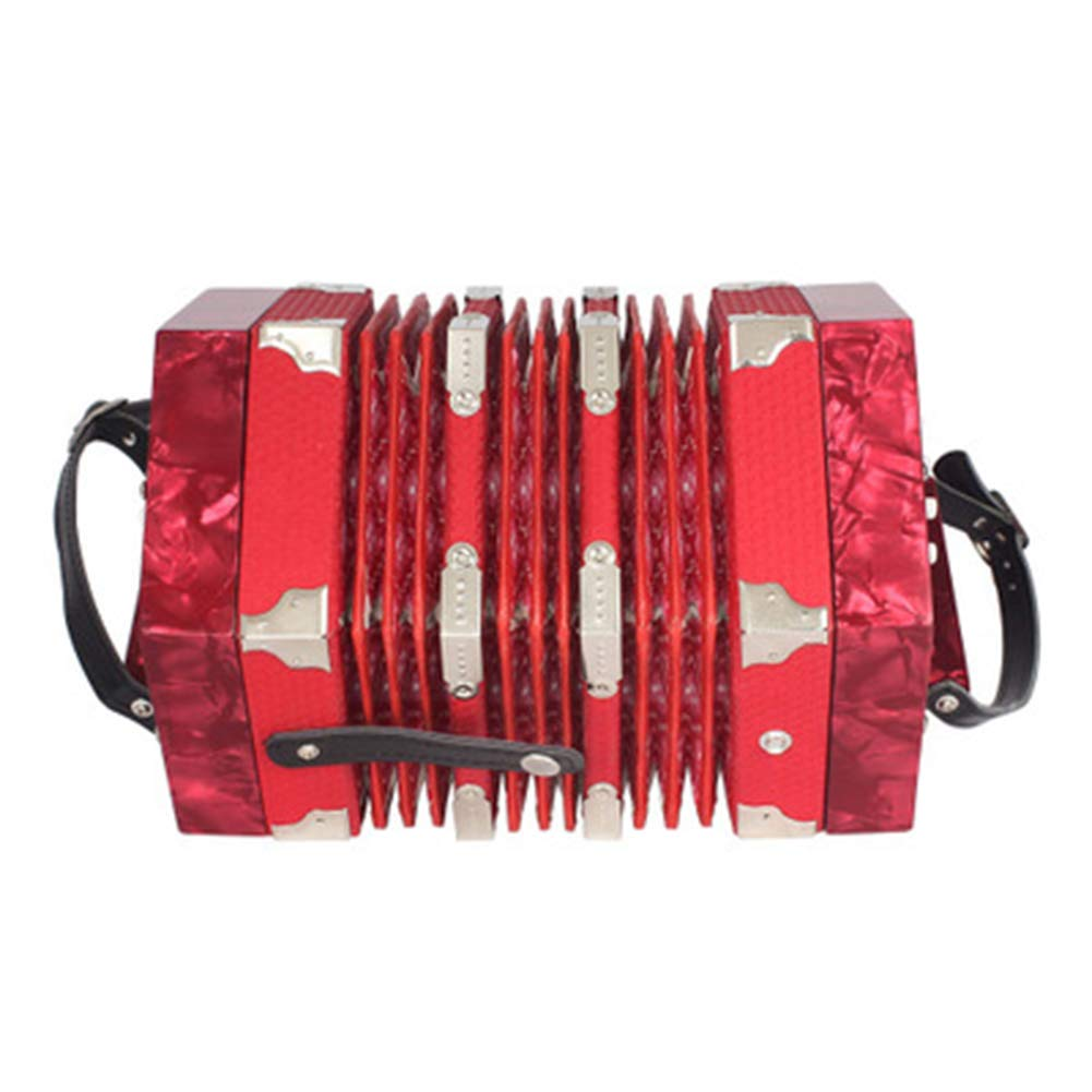 MG.QING 20 Keys Concertina Accordion Solo and Ensemble Instrument for Children Kids Beginner Students with Tote Bag,Red