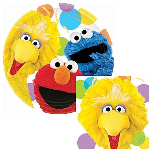 Sesame Street Big Bird Party Lunch Napkins & Plates Party Kit for 8 (Sesame Street Party Big Bird Lunch Napkins)