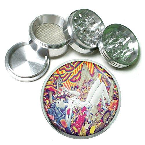 Trippy Mushroom Girl Em1 Silver Chrome 63mm Aluminum Magnetic Metal Herb Grinder 4 Piece Hand Muller Spices & Herb Heavy Duty 2.5