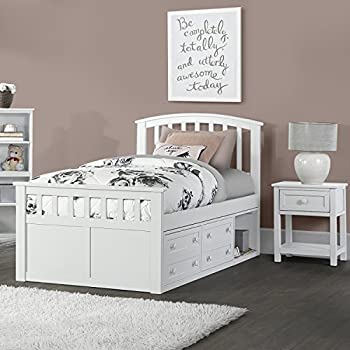 Hillsdale Furniture 2184CCTB Charlie Captains Bed with One Storage Unit, Twin, White