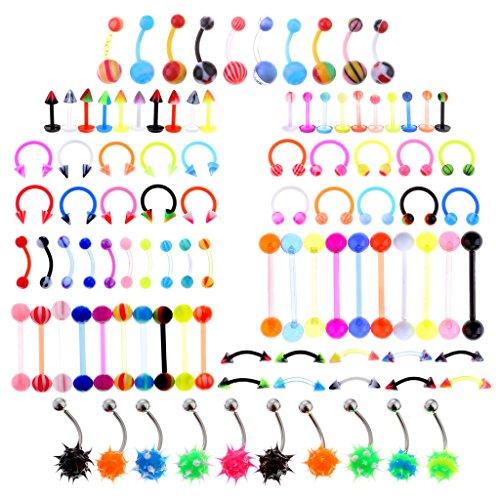 PiercingJ Lot 100pcs 14G 12G Body Jewelry Piercing Eyebrow Navel Belly Tongue Lip Bar Ring 10 Styles