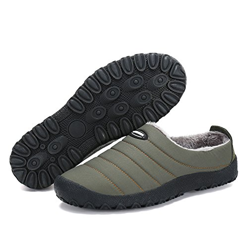 Shoes Army CiiaoLeoo Women's House Winter Men Outdoor Slippers Indoor Antiskid Green and zwzH1xC