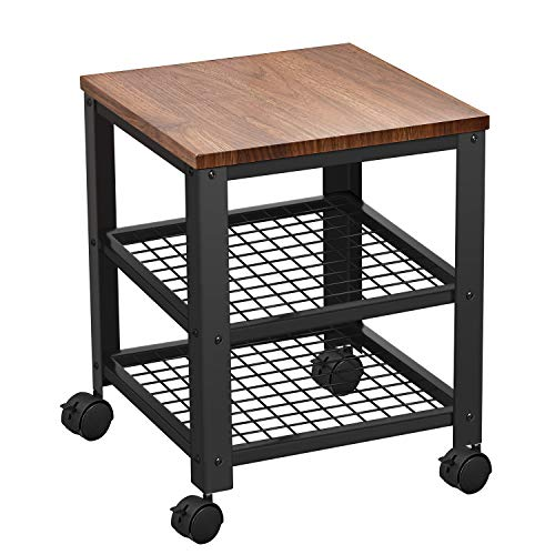Trustiwood Rustic Kitchen Serving Cart Rolling Utility Industrial Storage Cart on Wheels with 3-Tier Shelves for Living Room, Bedroom Furniture Walnut