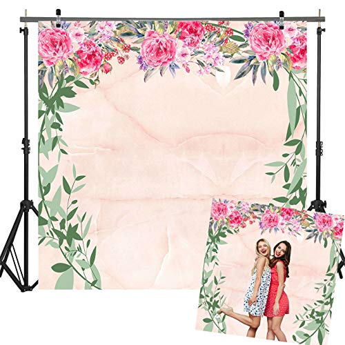 6x6ft Durable Fabric Fantasy Light pink Marble Photography Backdrop with Flowers and Round Green Branches Decorations for Bridal Shower Bachelorette Birthday Baby Shower Party Decorations Photo Studio