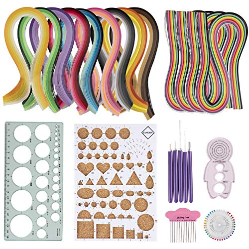 Quilling Pins - Quilling Kit - 23-in-1 Paper Quilling Set, Includes 9 Gradient Color Strip Set, 4 Rainbow Color Strip Set, Quilling Board, Ruler Template, 5 Awls, Pearl Pin Set, Curling Coach, Comb