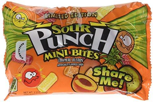 Sour Punch Tropical Flavors Sour Candy Bites, 3.5oz Bag (12 - Most Candy Sourest