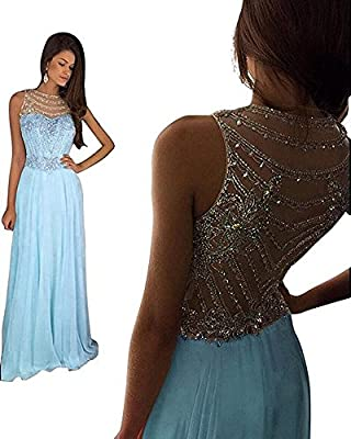 Still Waiting Women's Sparkly Crystal Prom Dresses Long 2018 Beading Chiffon Wedding Party Gowns Formal XY003