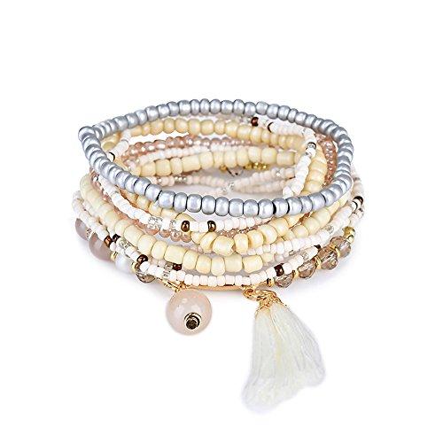 Tidoo Jewelry Bohemian Stretch Beaded Wrap Bangle Stacked Bracelets - Beaded Stretch Bangle Bracelet