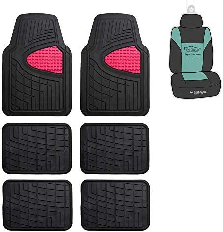 FH Group F11311 Premium Tall Trimmable Channel Rubber Floor Mats 3 Row (Pink) Full Set with Gift – Universal Fit for Cars Trucks and SUVs