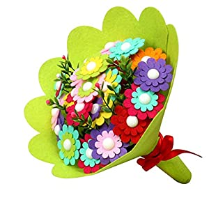 DdauXyaClv Children's Handmade DIY Making Materials Package Father's Day Non Woven Hand Holding Bouquet Non Woven Flowers 68