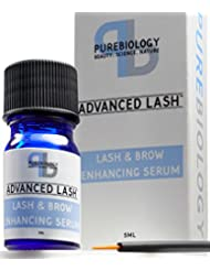 Pure Biology Eyelash Growth Serum & Eyebrow Enhancer w/Breakthrough Growth Stimulating Complex - Safe & Irritation-Free (Precision Applicators Included)