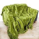 Y # x2022; ROHILinen y # x2022; Manta de lujo supersuave–musgo verde–solo, doble y King cama sofá, 100% poliéster/forro polar/poliéster, Verde, Single (127cm x 152cm)