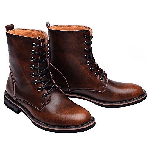 Boots Warm Winter Brown Low Up Boots Lace Chukka Heel Mens fur Ankle Stylish Pointed rismart Chunky Lining Toe OvHaw8