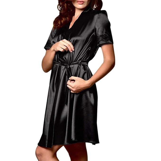 Albornoz Mujer Ducha Enaguas para Vestidos Largos Seda Mujeres Arco cinturón Vendaje camisón lencería Ropa de Dormir Sexy túnica de Encaje POLP: Amazon.es: ...