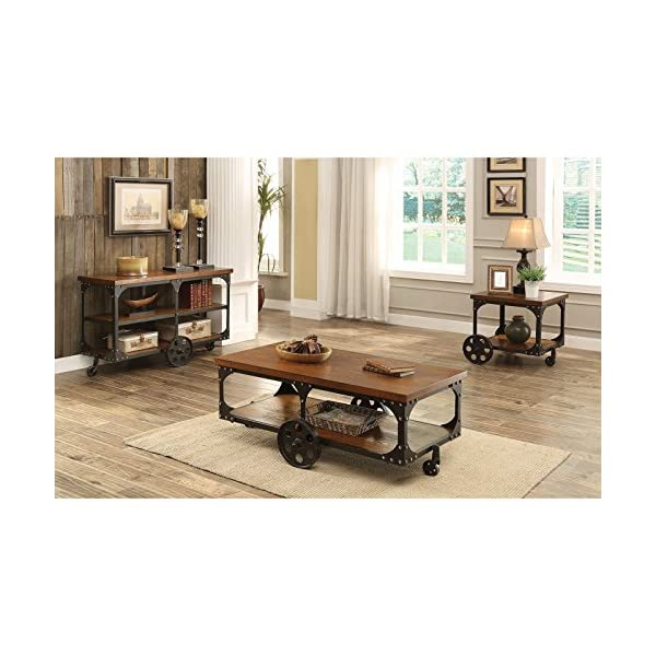 Coaster Furniture Wood End Table with Metal Casters 4