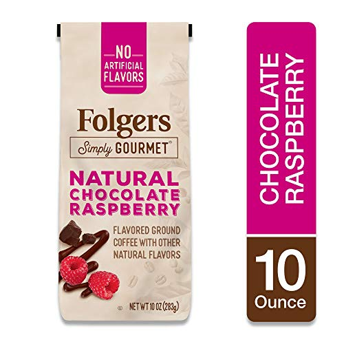 Folgers Simply Gourmet Coffee, Chocolate Raspberry Flavored Ground Coffee, 10 Ounces