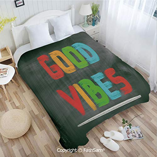 PUTIEN Flannel Fleece Blanket with 3D Colorful Chalk Writing on Blackboard Image Positivity Optimism and Happiness Lightweight for Adults(49Wx78L) ()