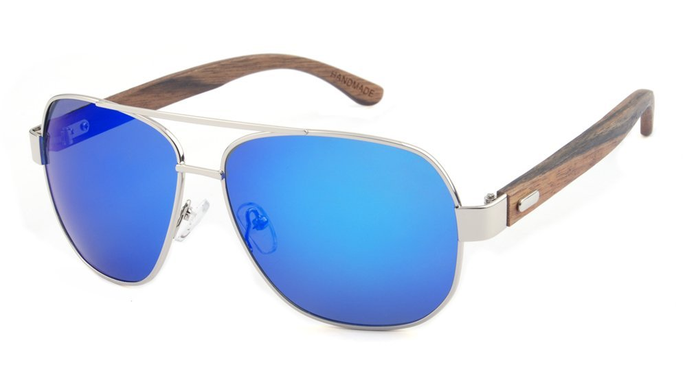 Wooden Polarized Aviator Sunglasses for Men/Women