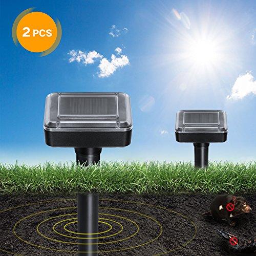 DAPRIL Solar Mole Repellent 2 Pack, Solar Powered Repellent, Chaser Mole Gopher Vole Repeller Spikes for Yard Lawn Garden, Waterproof