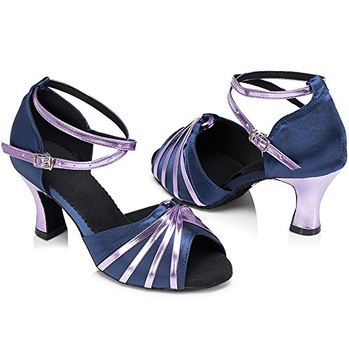 Verschleißfestes Absatz Tanzschuhe Damen Latein Standard Leder Schuhe 6 Wealsex Lila cm 1q4w8P00x