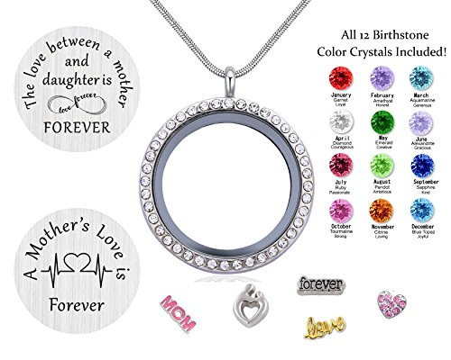 Beffy Daughter or Mom Love Gift, Memory Floating Locket Pendant Necklace with Birthstones & Charm for Morther Mom Mammy Mama or Girls by Beffy (Image #2)