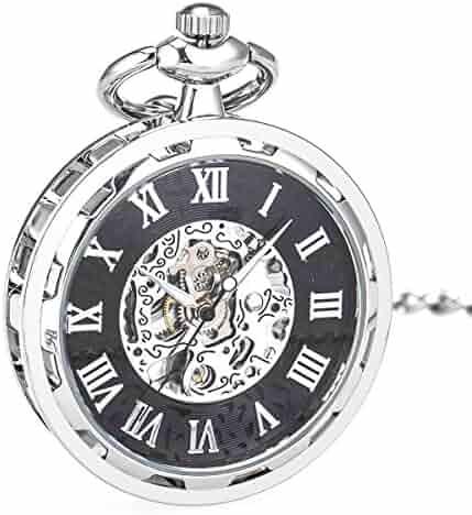 WENSHIDA Pocket Watch Open Face Skeleton Men Antique Bronze Mechanical/Hand-Wind Chain Box (3.Hand Wind, Silver Black Open Face, HBH144)