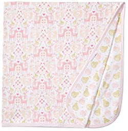 Magnificent Baby Girls\' Woodland Damask Reversible Receiving Blanket, Woodland Stripes, One Size