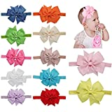 "QandSweet Baby Girls Headbands and Forked Tail Bow Photography (12Pcs 4"" Bow with Gift Bag)"